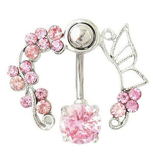 Horse Shoe of Pink Crystal Flowers and Butterfly Wings on a Belly Ring - Basket HIll Watches & Gifts