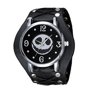 Halloween , Jack Skellington Watch w/ Studs and Ties on Black Leather,