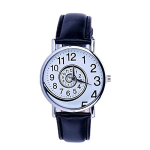 Swirling Numbers Round Watch with Leather Band
