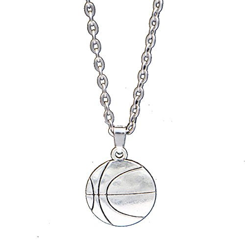 Boys or Mens Silver Tone Basketball Sports Necklace