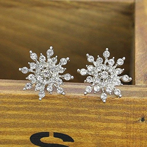 Basket Hill. Sparkling Crystal Snowflake Womens, Girls Post Earrings - Basket HIll Watches & Gifts