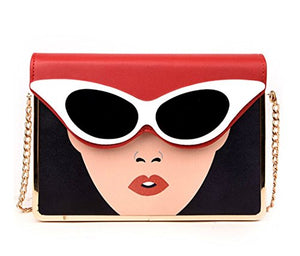 Amazing Women with Eyeglasses Clutch/ Shoulder Bag, Snap Closure