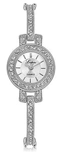 Lupai Gold or Silver and Crystal Dress Bracelet Watch