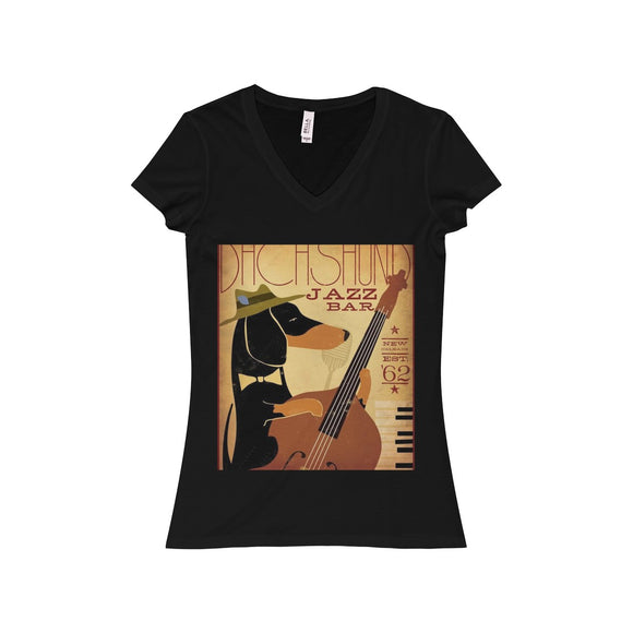 Retro Advertising  w/ Dog and Guitar on a Womens Jersey Short Sleeve V-Neck Tee - Drop Ship Only