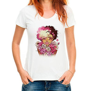 "Charming Colorful Womens "" Black Girl or Ethnic Girl "" with Roses with White T-Shirt / Top, (Runs Small)"