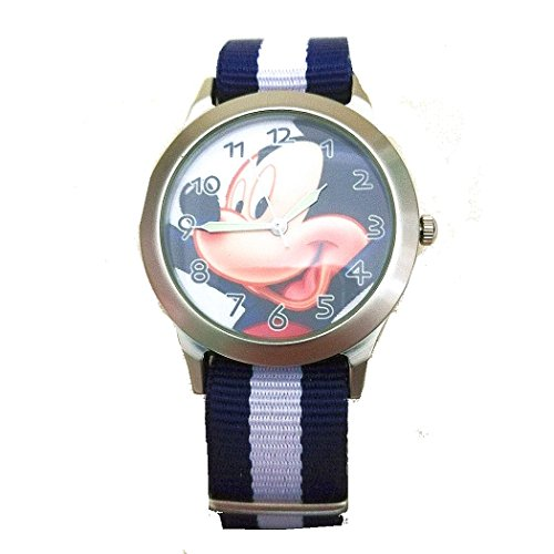 Mickey Mouse Watch w/ Fabric Off Center Bands ( blue and white)