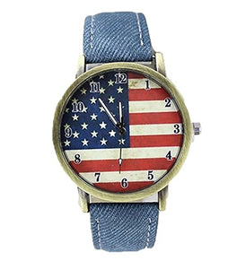 Mens Country Style Antique Bronze ( look ) Flag Watch w/ Denim Bands