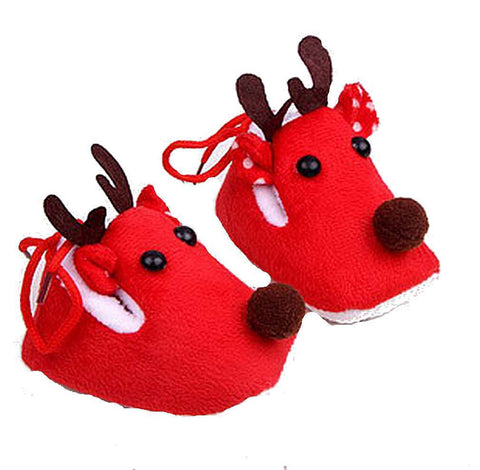 Brown or Red Reindeer Baby  Booties, Anti-Skid - Basket HIll Watches & Gifts