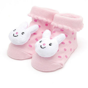 Pink Baby Sock with White 3D Bunny for Infant  / Baby Girls, Non-Skid - Basket HIll Watches & Gifts