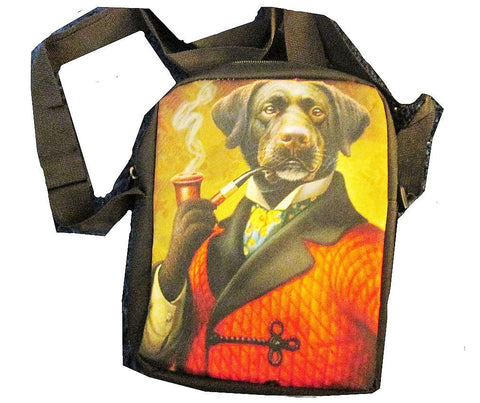 Dog in Smoking Jacket and Pipe on a  Girls or Womens Messanger Bag / Purse
