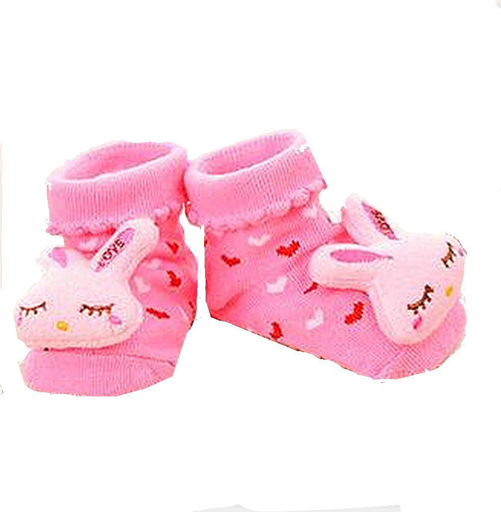 Pink Bunny Socks - Infant/ Baby 3D Bootie Socks Anti / Non Slip 0-12 months - Basket HIll Watches & Gifts
