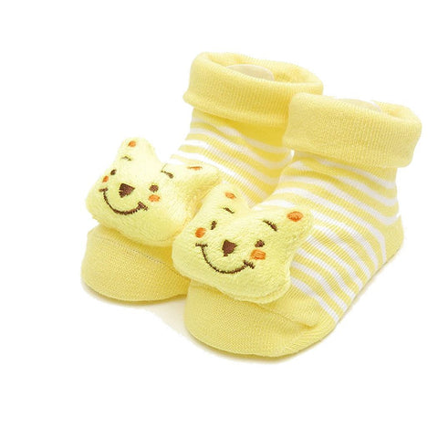 Pooh Bear  -Infant/  Baby Boy or Girl  3D Bootie Socks Anti / Non Slip 0-12 months - Basket HIll Watches & Gifts