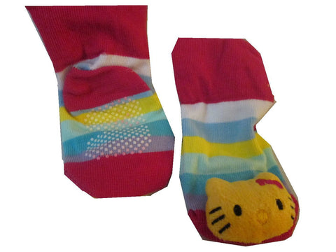 Hello Kitty 3D with Rainbow Stripe Sock For Infant / Baby Boy or Girl , Non Skid - Basket HIll Watches & Gifts