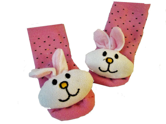 3D Bunny Rattle with Pink Baby Sock- Non Skid 0-12 months - Basket HIll Watches & Gifts