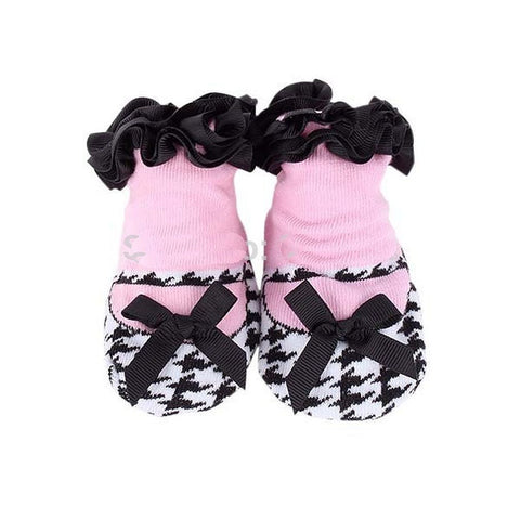 Adorable Black and White Houndstooth and Pink Girls Baby Sock- Non Skid - Basket HIll Watches & Gifts