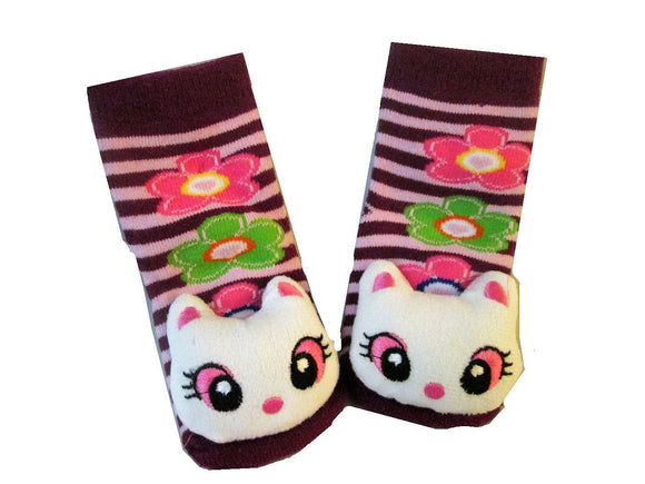 3D Kitty (pink eyes) and Purple / Pink Stripe Baby Sock- Non Skid 0-12 months - Basket HIll Watches & Gifts