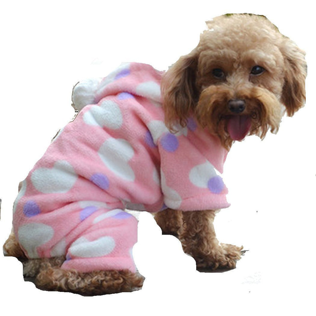 Dog Hoodie in Pink, White and Purple (Hearts and Dots)Winter Coat for Dogs (S, M, L) - Basket HIll Watches & Gifts