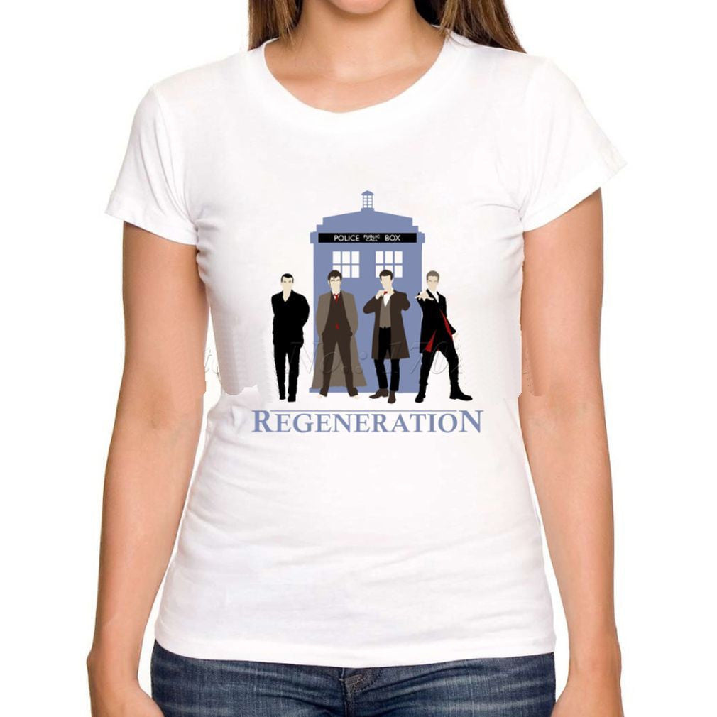 Dr Who Generations and Tardis  ( 4 Doctors)  Women or Men T-Shirt - Basket HIll Watches & Gifts