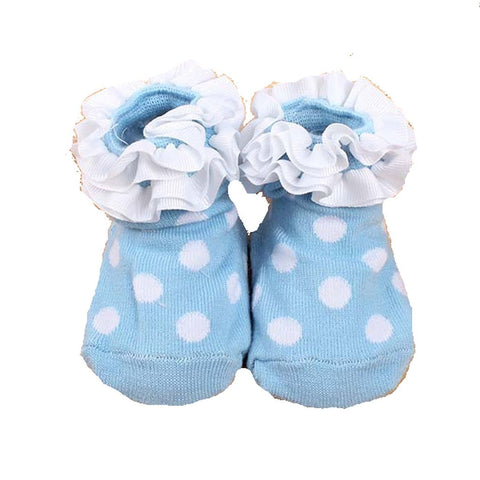 Adorable Blue and White Poka Dot Ruffled Girls Baby Sock- Non Skid - Basket HIll Watches & Gifts