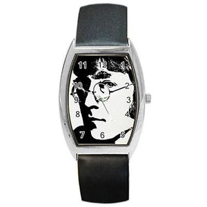 "The Beatles "" John Lennon "" in Black and White Barrel Watch with Leather Band-ships from hong kong 2-3 weeks"