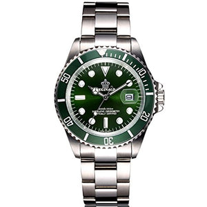 Mens Unique Silver and Green Sports Watch, Date, Waterproof