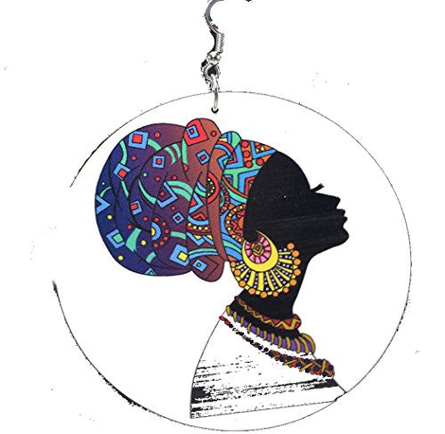 Beautiful African, African American Women with Turban on Large Round Dangle Earrings (one side)