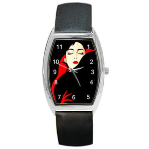 Artistic Lady in Red and Black on a Barrel Shapped Watch w/ Black Leather Bands  - ships from hong kong 2-3 weeks