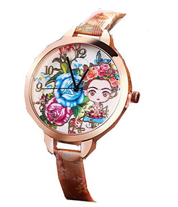 Frida Kahlo or Child w/ Flowers Womens ( girls ) Wrist Watch with Leather Bands