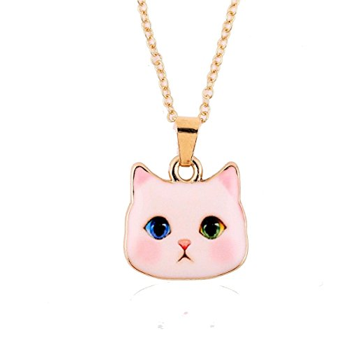 Adorable Kitten Head on a Girls Necklace , one blue , one green eye