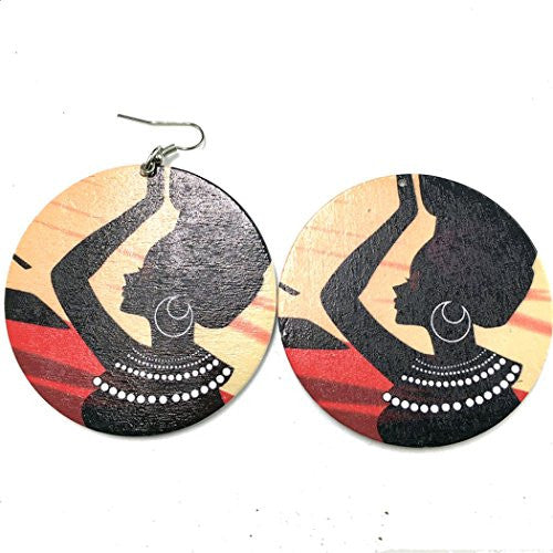 Beautiful African Women Large Round Dangle Earrings (one side)