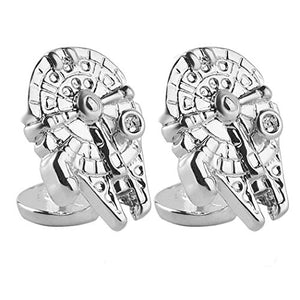 "Fathers Day, Star Wars ""Millenium Falcon"" Bright Silver and Tarnished Silver, Tone Mens Cufflinks"