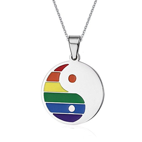 Gay Rainbow ( LGBT) Yin Yang Disc on Silver Tone Womens Necklace