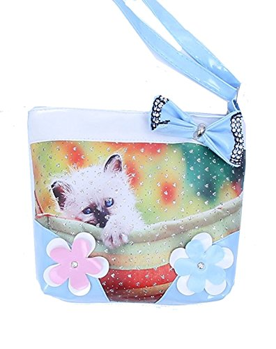 Adorable Blue Girls Kittens on Floral Purse with Crystals and Bows , with Zipper