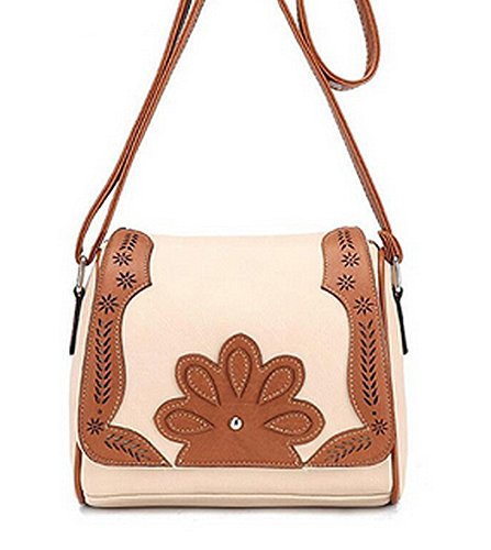 Boho Womens Tan or Off White / Brown Messenger Bag / Shoulder Bag with Flower Applique