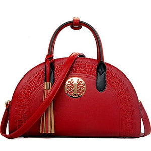 Asian Style Fine Leather Handbag, Purse w/ Embroidery and Medalion. Shoulder Strap Too