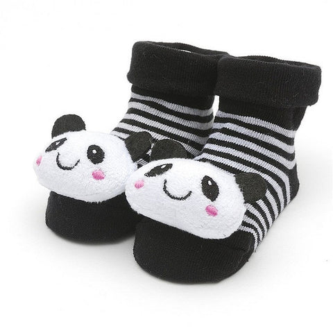 "Black and White Sock with 3D "" Panda Bear ""   for Baby Girls or Boys - Basket HIll Watches & Gifts"