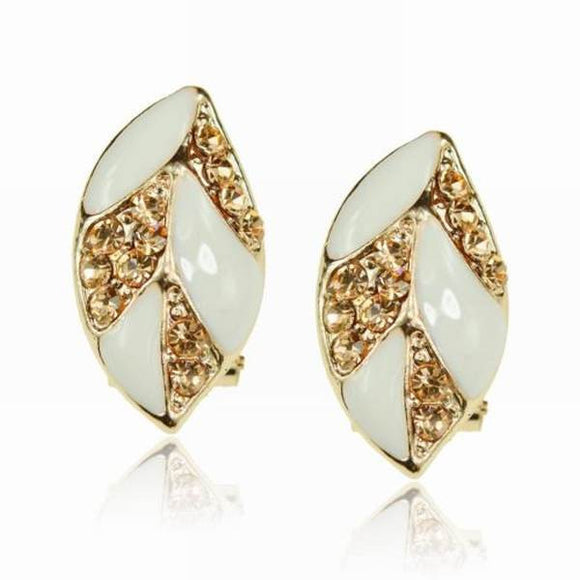 Leaf Shape White Enamel and Rhinestone (18k GP) Post Earrings