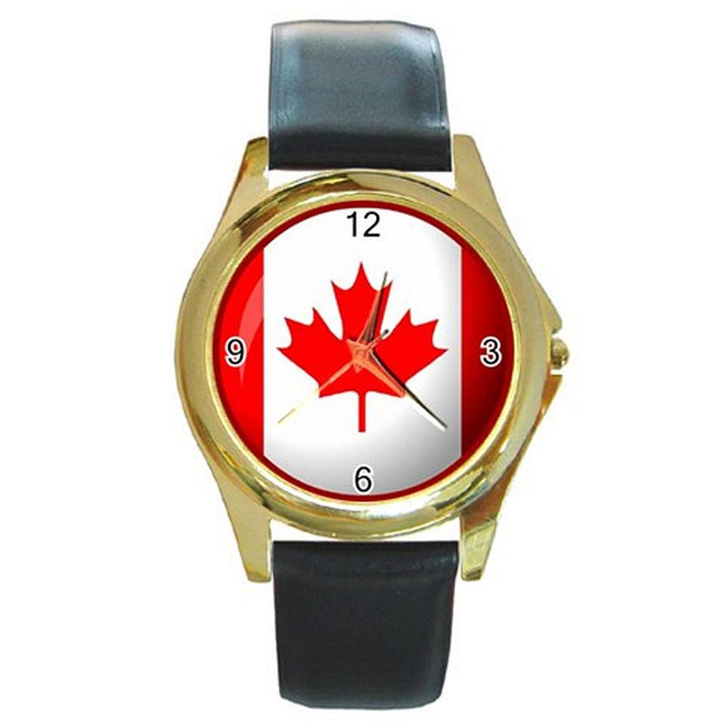 Canadian Flag Design on a Men or Women Gold Tone Watch with Leather Band - Basket HIll Watches & Gifts