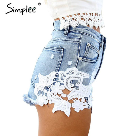 Simplee 2016 ripped pocket women shorts Summer casual denim shorts vintage hot s