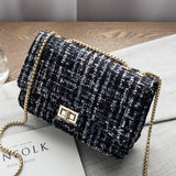 Plaid Chanel--Look Fabric Shoulder Bag  For Ladies