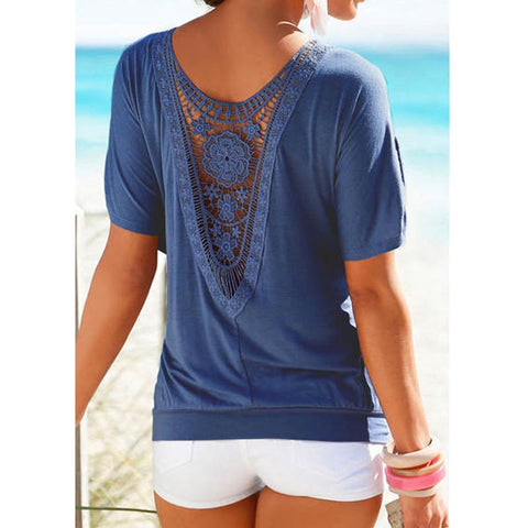 Women Spring Summer Cutout /  Lace Short Sleeve Blouse, Top ,