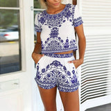 Womens Blue and White China Spring Summer Floral Short Set / Jumper, ( Buy 1-2 S