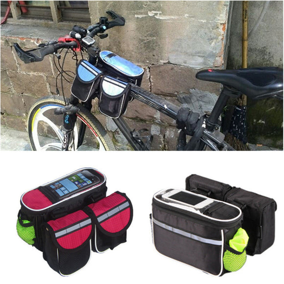 Outdoor Cycling Sport Double nylon bag Black carry bags Bicycle Bike Front Tube Bag - Basket HIll Watches & Gifts