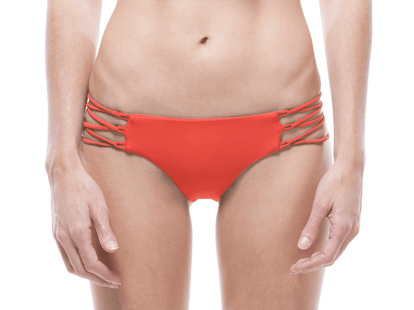 Tangerine | Lace Up Bikini Bottom - WITH LOVE FROM PARADISE