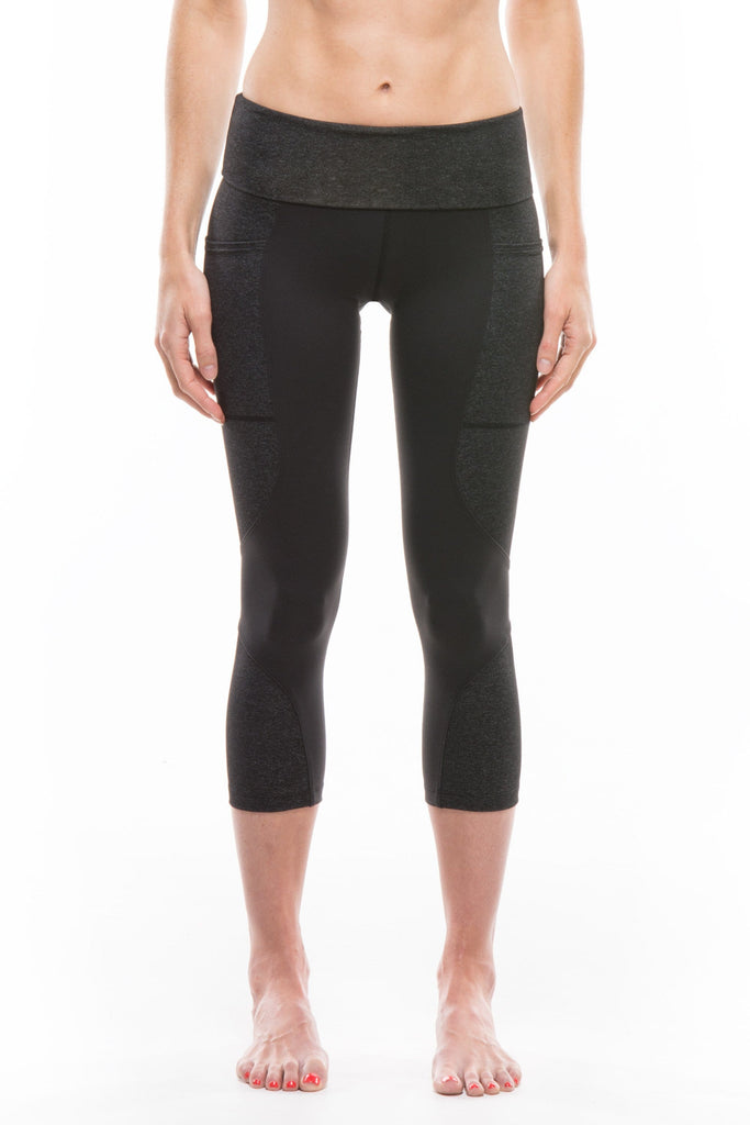 Black + Charcoal | Keala High Waist Capri