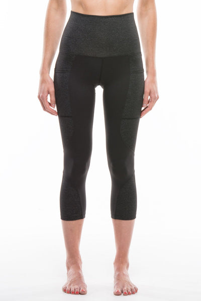CHARCOAL + BLACK | HIGH WAIST CAPRI