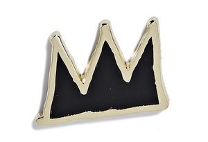 Basquiat Pin - Black and Gold Crown