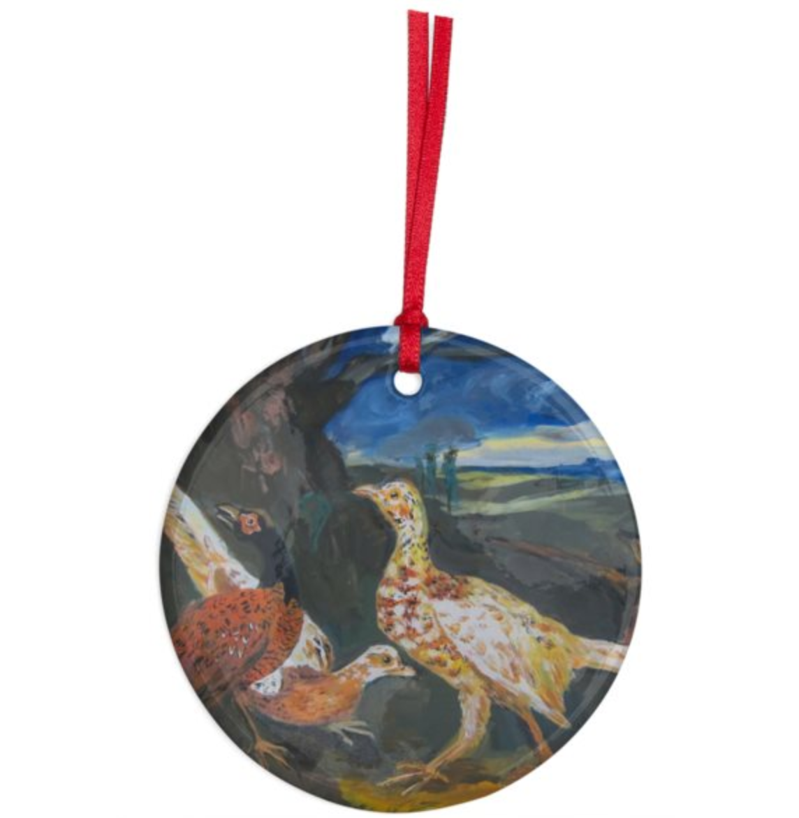 Karen Kilimnik 'pheasants + fairies in the field' Ornament