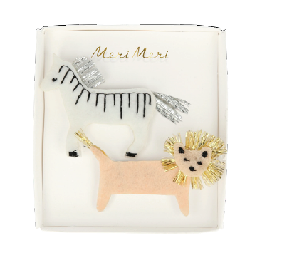 Zebra and Lion Hair Clips - The Brant Foundation Shop