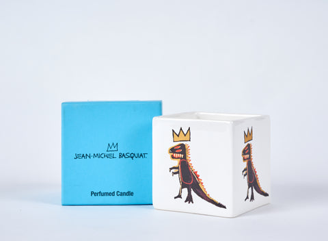 Basquiat Scented Candle - Pez Dispenser Dinosaur on white background